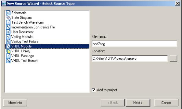 Añadir nueva fuente de tipo VHDL module