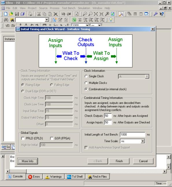 Configuracion de tiempos de simulacion del Test Waveform